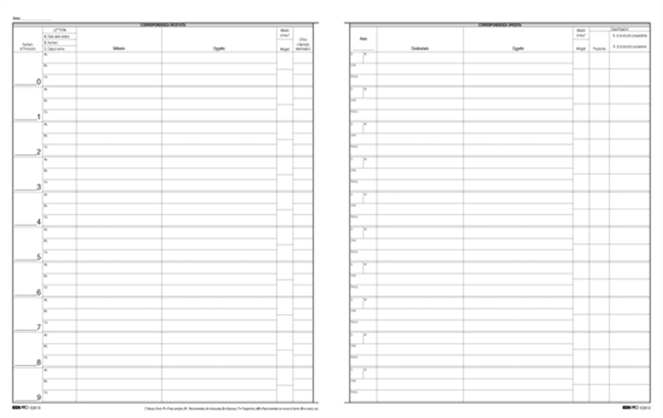 a381a144d8 Zetaufficio shop. Registro protocollo corrispondenza arrivo/partenza  31x24,5 500 pagine cop. rigida
