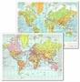 Immagine di Cartina fisica/politica Planisfero 28x37 cm conf. 25 pz.